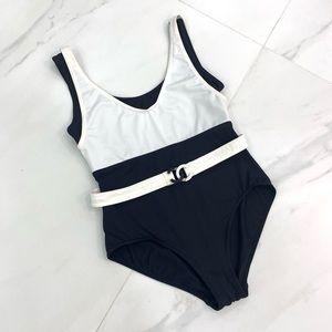 Vtg CHANEL CC belt swimsuit